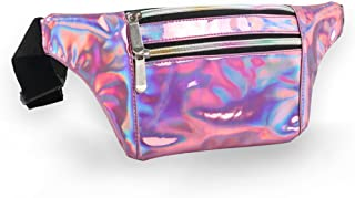 Holographic Fanny Pack for Women - Metallic Sport Waist Pack for Men for Running, Hiking, Traveling, Camping, Partying, Jogging