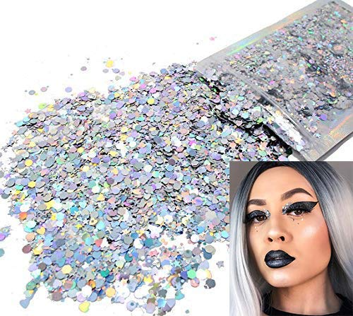 Holographic Silver - Cosmetic Grade Chunky Glitter - Hearts & Hexagon Shape - Festival Rave Makeup Face Body Nail