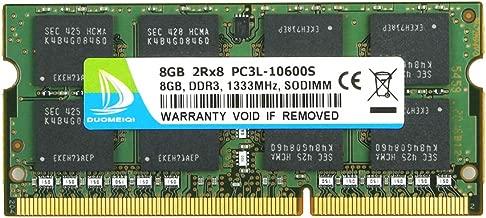8GB DDR3L-1333 Sodimm, DUOMEIQI 8GB PC3/PC3L-10600S DDR3 8GB RAM 2RX8 204pin 1.35v CL11 Notebook RAM Memory