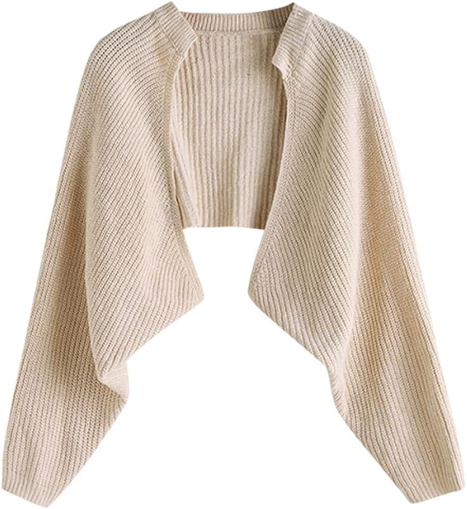 ZAFUL Women's Casual Batwing Sleeve Drop Shoulder Open Front Ribbed Knit Baggy Outwear Cropped Bolero Shrug Cardigan Sweater