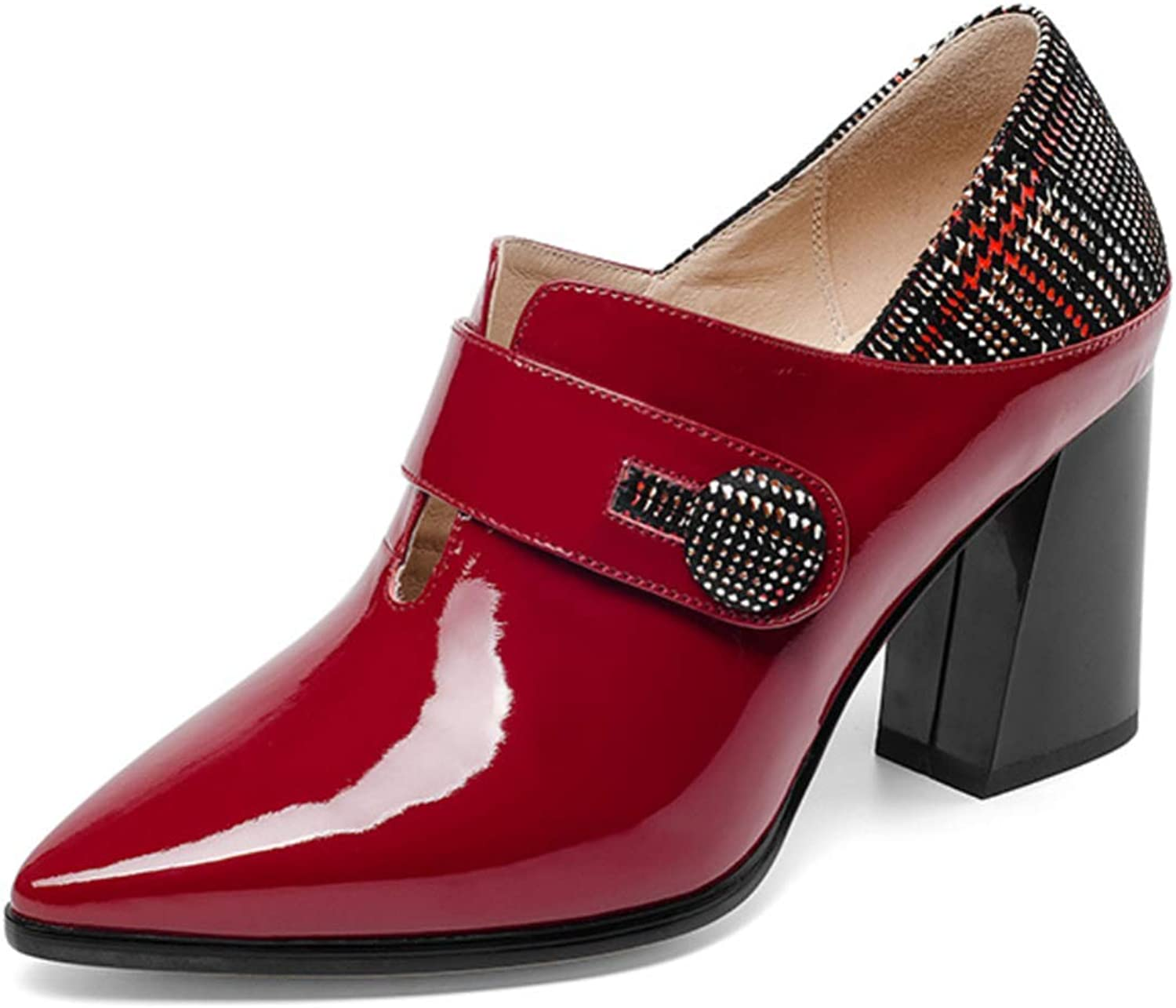 Shiney Women's Leather Single shoes Heeled Cow Patent Leather