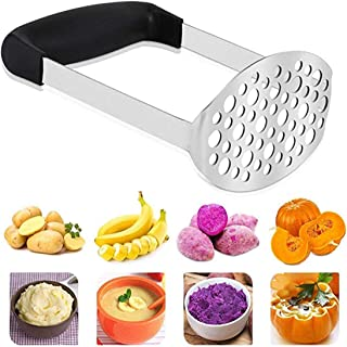 Potato Masher,Smooth Potato Masher Stainless Steel Baby Food Fruit Vegetable Masher with Black Handle for Mashed Vegetable...