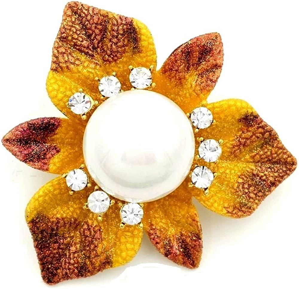 DREAMLANDSALES Exquisite Vintage Gold Tone Domed Imitated Pearl Brown Yellow Enameled Triple Overlap Leaves Brooch Pins Autumn Jewelry