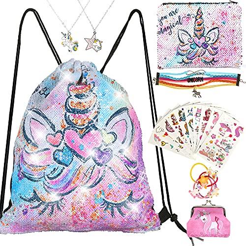 RLGPBON Gift for Girls ,Unicorn Sequins Drawstring Drawstring Backpack with Cosmetic Bag Bracelet ,Necklace ,Bracelet ,Hair Ties