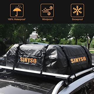 SINYSO Car Roof Cargo Bag Luggage Carrier,100% Waterproof,19 Cubic Feet[Orange+Black]