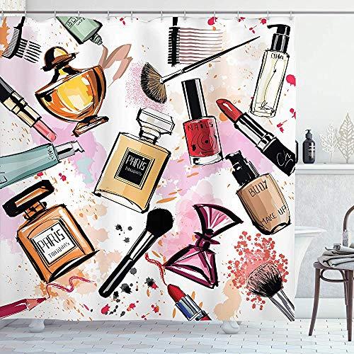 ASDAH Fashion Douchegordijn Cosmetisch en Make-up Thema Patroon met Parfum Lippenstift Nagel Pools Borstel Moderne Doek Stof Badkamer Decor Set met Haken Koraal Wit 66 * 72in