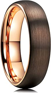 Duo 2mm 4mm 6mm 8mm Dome Brown Tungsten Carbide Wedding Band Ring Rose Gold Inside Comfort Fit