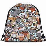 DHNKW Seamless Pattern Different Hot Air Balloons Backgrounds Textures Adult Sports Recreation Drawstring Backpack Bag Men & Women Sport Gym Bag