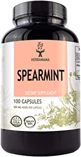 Spearmint 100 Capsules 500 mg | Filled with Organic Spearmint Leaf | Digestive Function I Non-GMO
