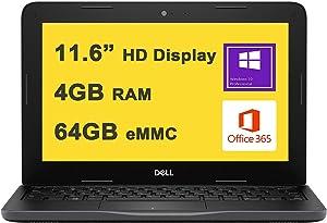 "Dell Flagship Latitude 3190 Business 11 Laptop 11.6"" HD Display Intel 4-Core Celeron N4120 4GB RAM 64GB eMMC Intel UHD Graphic WIFI5 Office365 Win10 Pro Black"