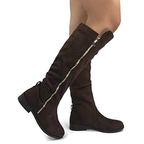 8c423c93fa2 Wells Collection Womens Fiorina Knee High Boots Soft Faux Suede Flat Heel  with Side Zipper