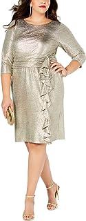 Jessica Howard Plus Size Womens 3/4 Sleeve Ruched Waist Sheath Dress