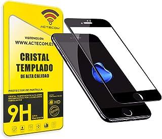 6ee69210143 ACTECOM® Protector Pantalla Completa 3D 5D Negro Cristal Templado iPhone 8  Plus