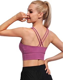 OUGES Women Strappy Sports Bra Medium Support Wirefree Criss-Cross Workout Crop Top with Built in Bra