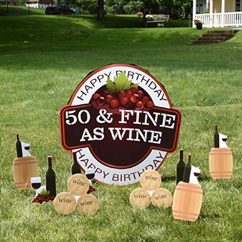 VictoryStore Yard Sign Outdoor Lawn Decorations: Birthday Yard Decoration, 50 and Fine As Wine, with 13 Stakes 12377
