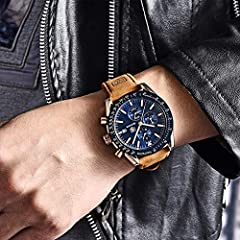 BENYAR Classic Fashion Elegant Chronograph Watch Casual Sport Leather Band Mens Watches (Brown-Blue) #3