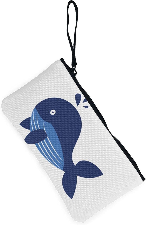 AORRUAM Whale Fountain Canvas Coin Purse,Canvas Zipper Pencil Cases,Canvas Change Purse Pouch Mini Wallet Coin Bag