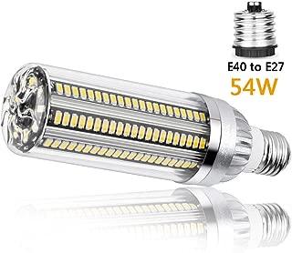 Felaaca Super Bright LED Corn Light, 54W Incandescent, 6080 Lumens (600W Equivalent), E27 to E40 Mogul Base Adapter, for Large Area Lighting,Warmwhite