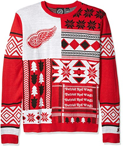 Detroit Red Wings Patches Ugly Crew Neck Sweater Large