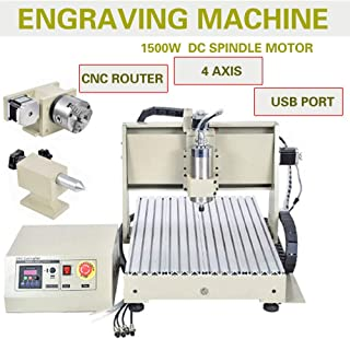 ZHFEISY Engraving Machines - 4 Axis USB 1.5KW VFD 6040 CNC Router Engraver Engraving Drilling Milling Carving Machine 3D Cutter Desktop With RC For【Soft Metal/Aluminum/Copper/Silver/Gold/Wood/Plasti】