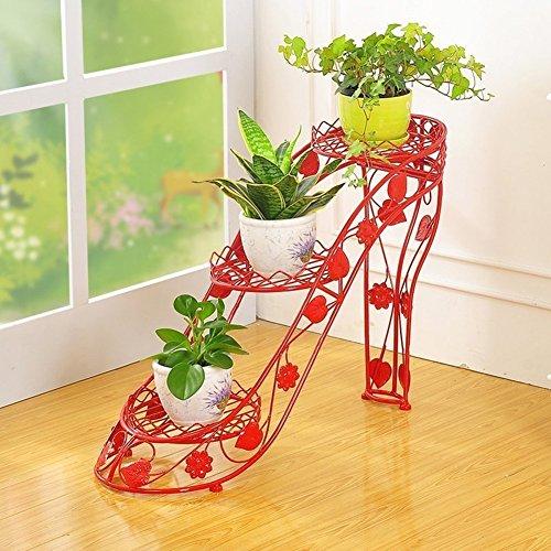 ZHANWEI Etagère à Fleurs Porte Pots pour Fleurs et Plantes Fer 3/4 étages Multifonctionnel Au Sol Talons Hauts Style d'art Intérieur/extérieur, 4 Couleurs, 25cm * 66cm * 54cm / 25cm * 90cm * 80cm