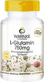 L-Glutamin Kapseln - 3000mg L-Glutamin pro Tagesdosis - vegan & hochdosiert - Freie Form - 120 Kapseln - Hergestellt in Deutschland
