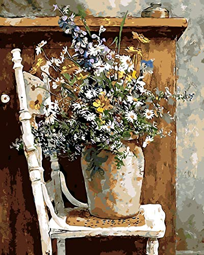 """SENWANG Paint by Number for Adult Oil Painting Canvas Kits 16"""" x 20"""" Paintwork with 3 Brushes Pigments Art Crafts for Home DIY Wall Decor - Wild Flowers Pots Chair"""