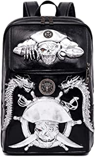 3D Stereo Pirate Skull with Dragon Backpack,Retro PU Leather Rivet Punk Rock Bag Casual Travel Laptop Backpack Fashion Bookbag,Silver