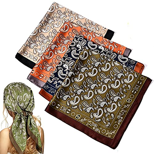 WUZJ 4 unids Seda sentimiento Cabeza Bufanda, Bufanda de Pelo Satinado Cuadrado para Mujeres, Bufandas de Pelo de Cuello envolventes de pañuelo de Cabeza de pañuelo de pañuelos Noche de Regalo,B