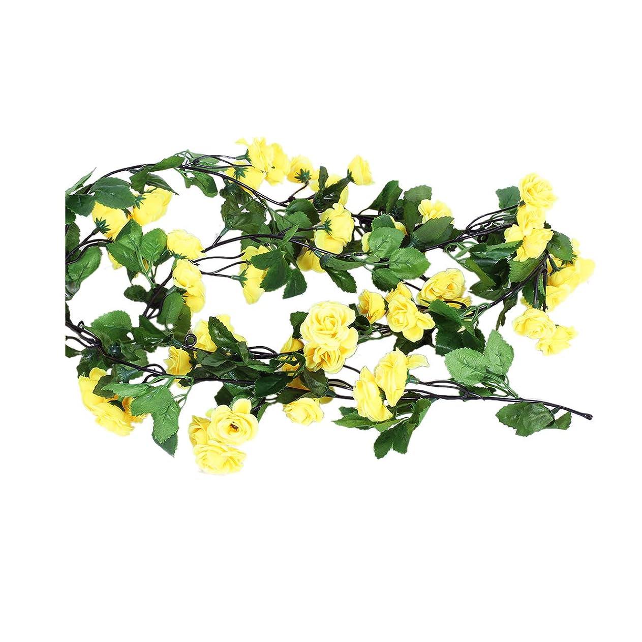 Li Hua Catローズガーランド緑葉付き造花バラツル63インチ 自宅結婚式装飾用 フラワーガーランド3個パック イエロー