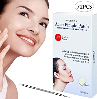 Acne Pimple Master Patch - 72Count Hydrocolloid Bandages Acne Spot Treatment Absorbing Zit Cover Healing Dots by UNGLINGA, Drug-free Non-drying, F12mm