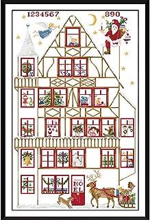 Cleana Arts Kreuzstich-Set, Weihnachtsgeschenk, Stickpackung, 11-fädig, 60 x 90 cm
