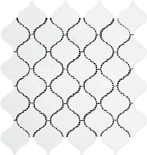 Thassos White Greek Marble Lantern Arabesque Mosaic Tile, Honed
