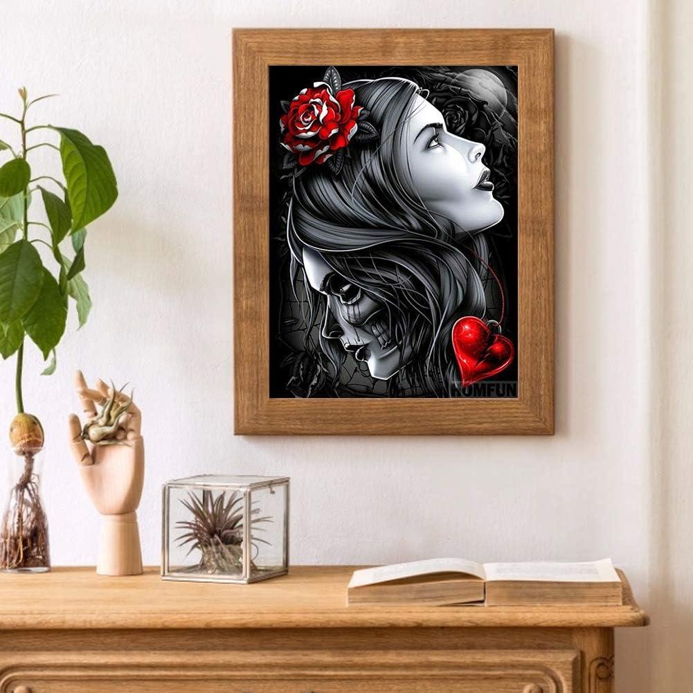 Ecotrump 5D DIY Diamond painting Compl/ète Foret Point De Croix Kit Diamant Peinture Rose Rouge Fille Mur Broderie Cristal Strass Arts Craft Pour Salon Chambre D/écoration murale Rond Drill #3