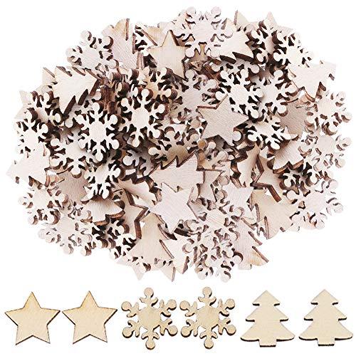 Decorazione Natalizia di Legno, BETOY 300 Pezzi Stella di Legno Fiocco di Neve Albero Legno Decorazioni Albero di Natale in Legno Fai da Te Ornamenti di Natale Decorazioni