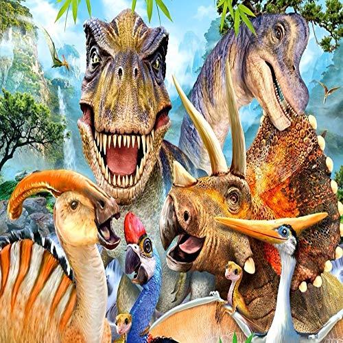 UHvEZ Familia de Dinosaurios El Rompecabezas de Madera 1000 Piezas ersionjigsaw Puzzle Juguetes educativos para niños Adultos_Rompecabezas Educativo de Regalo para niños_50X75CM