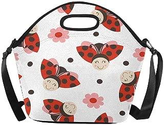 Patrón de Bolsa de Almuerzo de Neopreno Aislado con Bolso de Almuerzo Divertido Ladybug Lunchbox con Correa para el Hombro