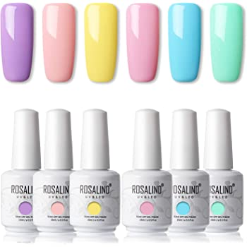 ROSALIND 15ml Esmaltes Semipermanentes de Uñas en Gel UV LED, kit de Esmalte de Uñas Nude 6pcs: Amazon.es: Belleza