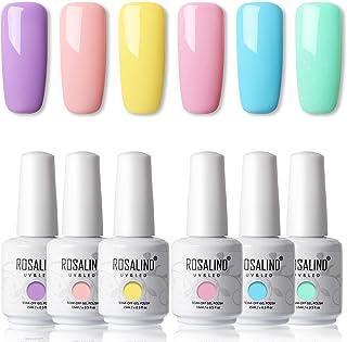 ROSALIND 15ml Esmaltes Semipermanentes de Uñas en Gel UV LED kit de Esmalte de Uñas Nude 6pcs