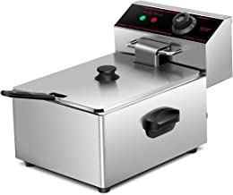 Dawndior Stainless steel Commercial 2500w 5.5L Deep Fryer Electric Tabletop Restaurant Frying w/Basket Scoop Easy Control Switch, Show As Pic