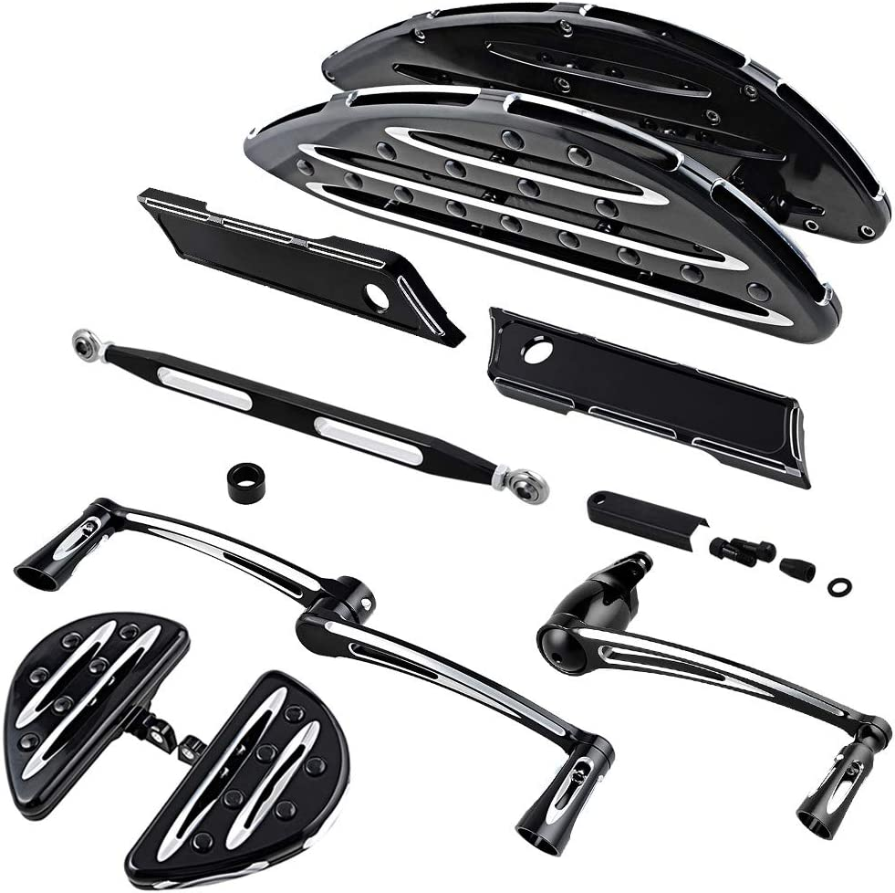 Black Cheap sale Driver Passenger Stretched Max 48% OFF Floorboards Arm P Brake Lever +