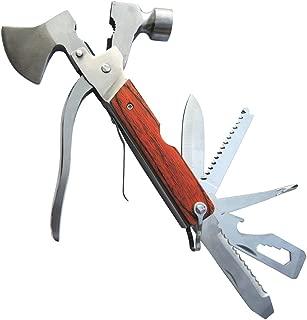 PEYOND Portable Multipurpose Multitool Camping Hatchet Survival Hammer Wood Inlay Handle Metal Outdoor Gadgets Axe