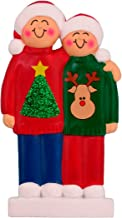 Personalized Ugly Sweater Family of 2 Christmas Tree Ornament 2019 - Happy Friends Sibling Santa Hat Winter Style Jumper Moose Pattern Funny Holiday Tradition - Free Customization (Two)