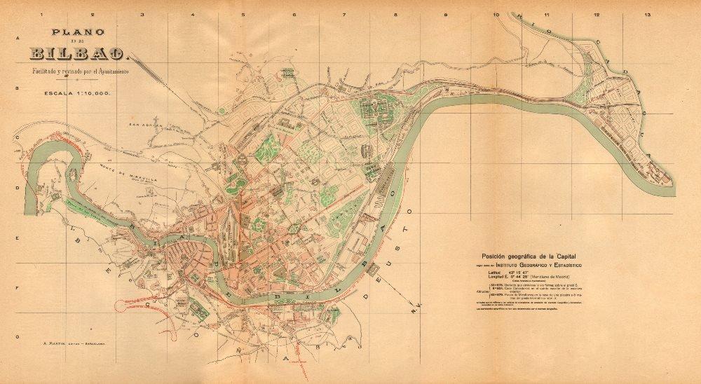 Bilbao Bilbo. Plano Antiguo Cuidad. Antiguo Ciudad/ciudad Plan. Martin – C1911 – Old Antiguo Mapa Vintage – Mapas de Impreso de España: Amazon.es: Hogar