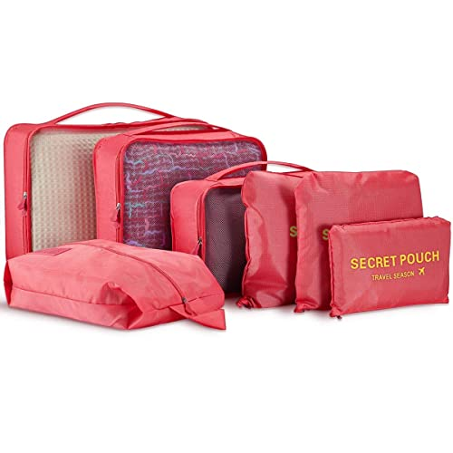 7 Set Packing Cubes - WantGor Travel Luggage Organizer Storage Bags Compression Pouches (7Set Big Watermelon Red)