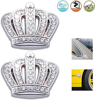 3D Bling car Emblem badge decal, Bling Car Accessories, Chrome Metal Car Decal Sticker, Car Bling Exterior & Interior Car Accessory (Bling Crown 2 PCS)