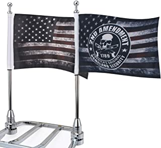 """Motorcycle Flags 6"""" x 9"""" Antique American Flags with Flagpole Mounts Fit for 1/2"""" Motorcycle Luggage Rack for Harley Davidson Honda Suzuki Kawasaki Goldwing CB VTX CBR Yamaha(1 Pair)"""