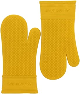 Rachael Ray Silicone Oven Mitts, 2pk - Heat Resistant Silicone Oven Gloves to Safely Handle Hot Cookware Items - Flexible, Waterproof Silicone Gloves with Non-Slip Grip and Insulated Pockets - Yellow