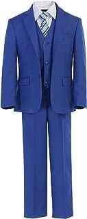 Big Boys Royal Blue Jacket Shirt Vest Clip On Tie Pants 5 Pc Suit Set 8-18