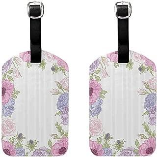 2 PCS Decorative luggage tag Anemone Flower Hand Drawn Framework with Fresh Summer Flora Bridal Wedding Theme Double-sided printing Pink Light Blue Green